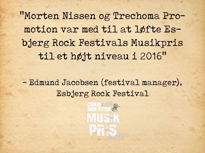 Esbjerg Rock Festival Musikpris - Anbefaling