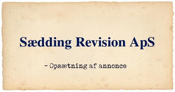 Annonce til Sædding Revision